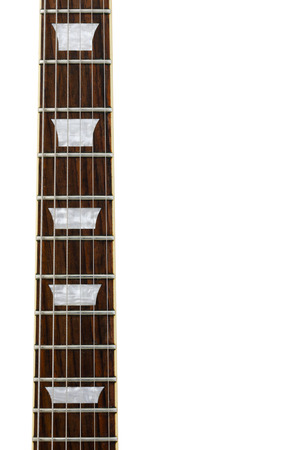 trapezoid: Guitar neck with trapezoid marks isolated on white background