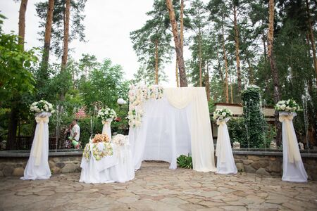 Wedding, ceremony, decoration, floristry, happiness. Stok Fotoğraf