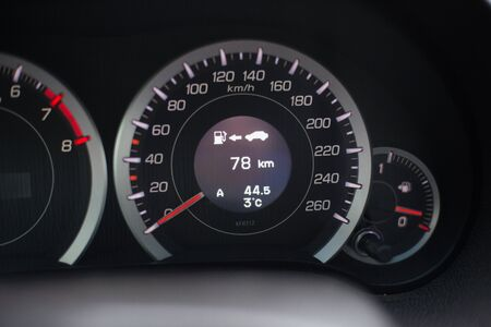 Modern car illuminated dashboard closeup Banco de Imagens