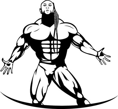 perfect body: Silhouette of a bodybuilder