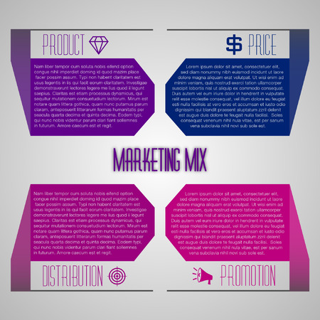 marketing mix: Editable marketing mix template with icons 4P Illustration