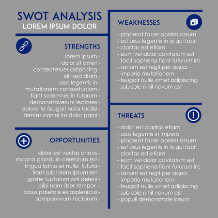 swot: Editable SWOT analysis business template Illustration