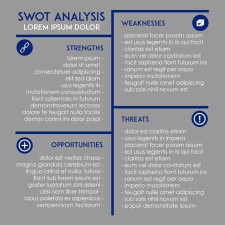swot analysis: Editable SWOT analysis business template Illustration