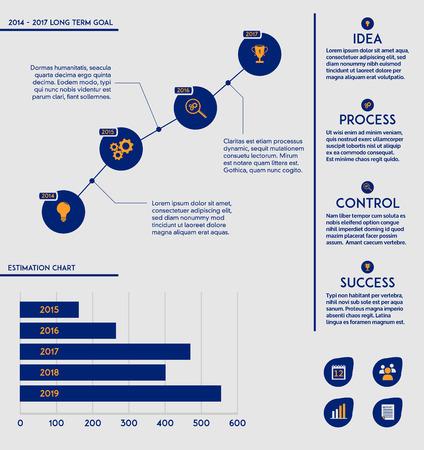Zakelijke marketing plan template - toekomstige doel grafieken, diagrammen en bewerkbare tekst Vector Illustratie