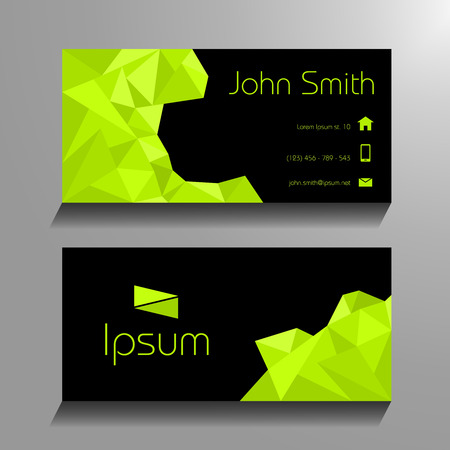 adress: Business card polygon style - green and black Illustration