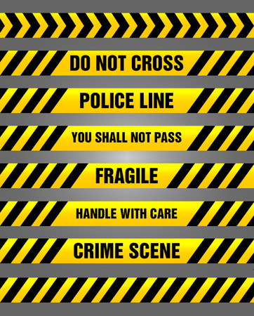 be careful: Caution tapes bundle - set of warning signs