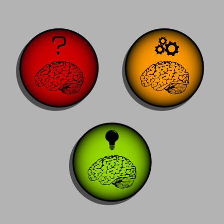 realize: Brain icons - process of thinking and idea creation