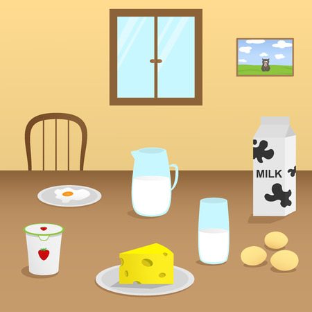 Illustration of dairy products on a wooden table in the dining room Vector
