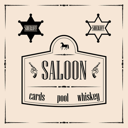 Wild west related illustrations - saloon sign with sheriff stars Illustration