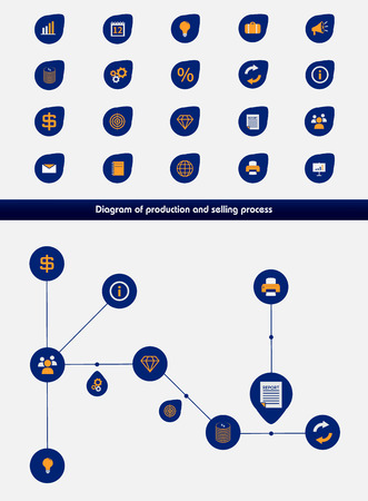 Editable business diagram template with set of icons Vector