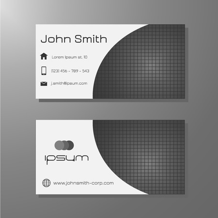 Business card template - black   white with square pattern