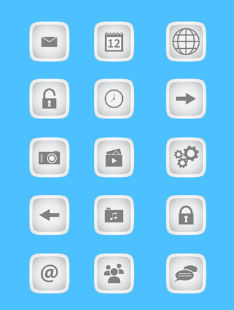 Collection of light grey buttons for phone applications and web