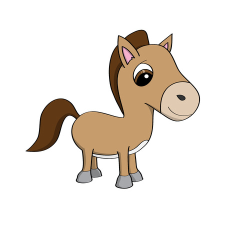 Cute cartoon pony illustration Vector