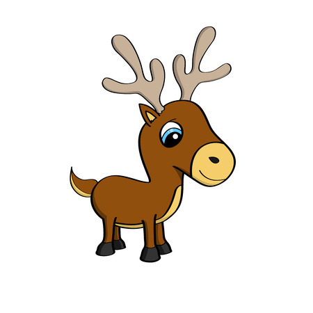 caribou: Cartoon illustration of a cute little reindeer with big blue eyes - isolated