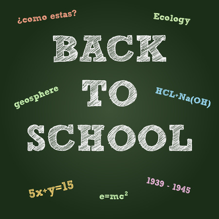 Back to school typography on a green board