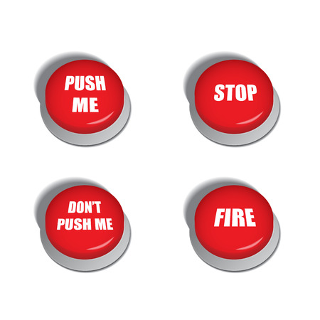 triggers: Red buttons with various commands - isolated illustrations  Illustration
