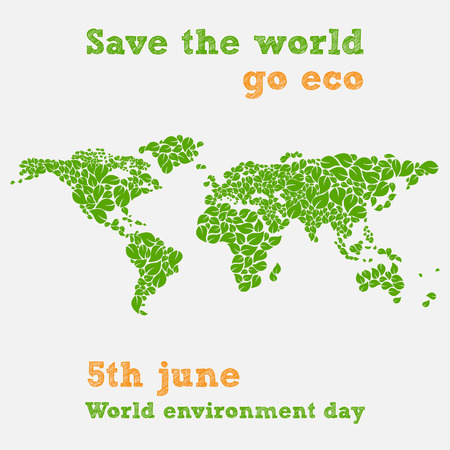 global environment: World environment day - fifth june, save the world illustration