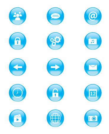 simplistic icon: Set of blue and white circular buttons for mobile phone applications or web Illustration