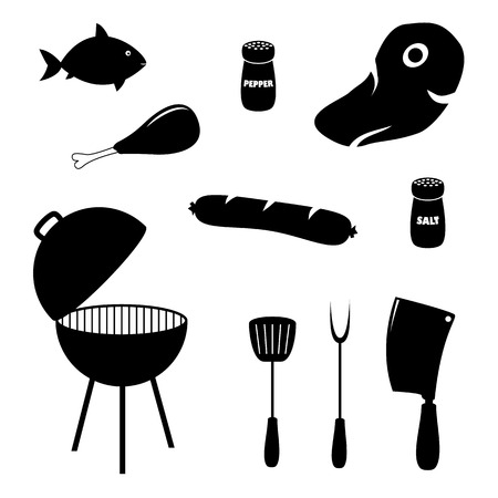 charcoal grill: Set of barbecue related icons, food, grill and tools