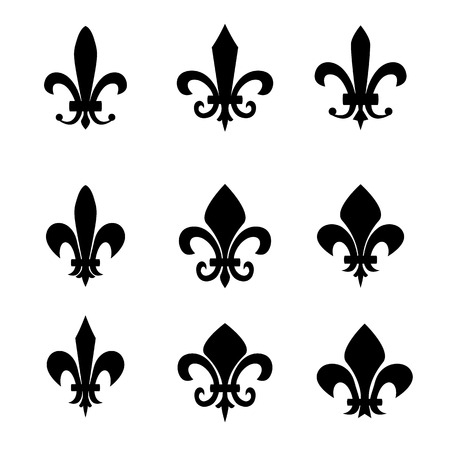 fleur of lis: Collection of fleur de lis symbols - black silhouettes