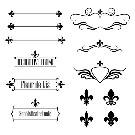 lis: Set of calligraphic flourish design elements, borders and frames - fleur de lis
