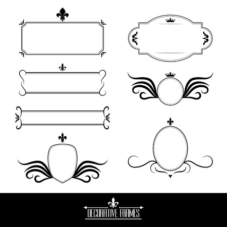 Set of decorative ornate frames and borders in vintage floral style Illustration
