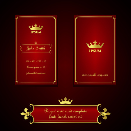 nobel: Business card template in royal red and gold style