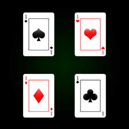 Set of playing cards - four aces