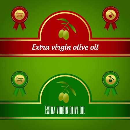 aceite de oliva virgen extra: Conjunto de etiquetas de aceite de oliva virgen extra - rojo y verde