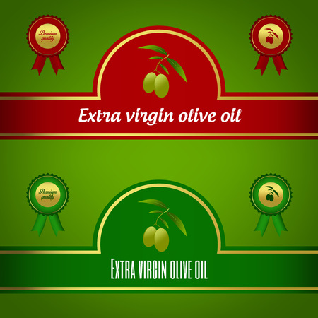 extra virgin olive oil: Set of extra virgin olive oil labels - red and green