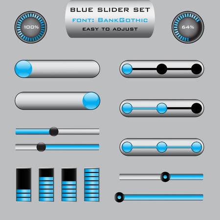 clean off: Set of various slider bar control panels in blue design - suitable for web or presentations Illustration