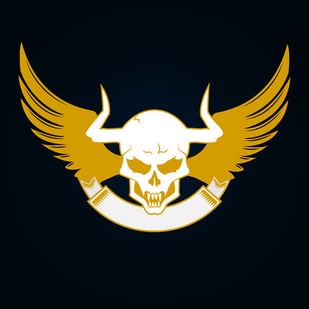 skull cranium: Illustration of a skull with horns, wings and emblem template