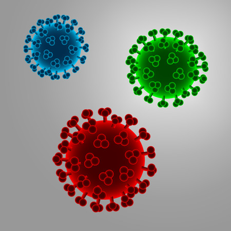 infect: Illustration of a virus in three different colors - red, green and blue