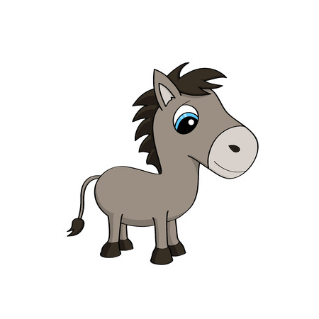 Cartoon illustration of a cute baby donkey with big blue eyes Illustration