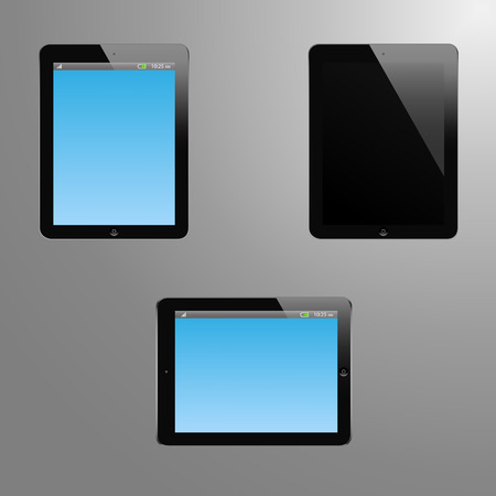 idle: Realistic illustration of a tablet with editable screen, horizontal view and idle or off screen