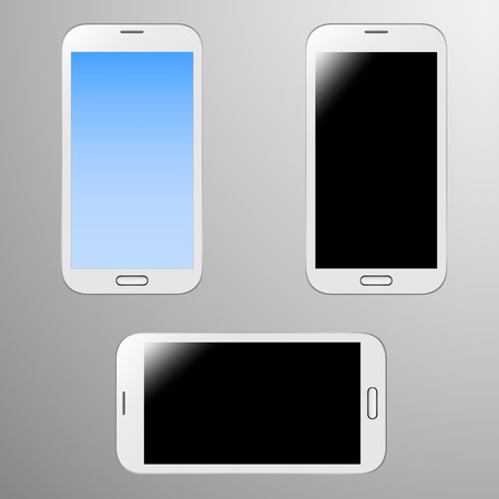 Realistic Illustration of a smart phone with editable screen and screen when its off   horizontal position Vector