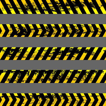 warning tape: Set of grunge yellow caution tapes - isolated illustration Illustration