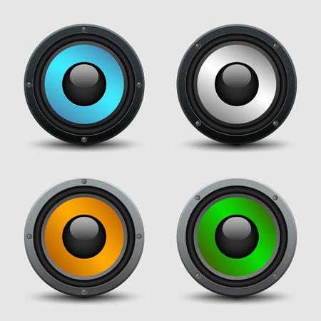 woofer: Set of four colorful speakers - realistic illustration Illustration