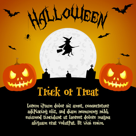 Cartoon halloween illustration with text placeholders Vector
