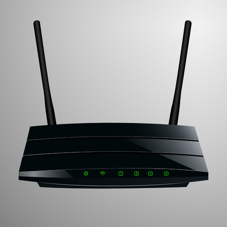 sleek: Realistic illustration of a black router in a sleek modern design