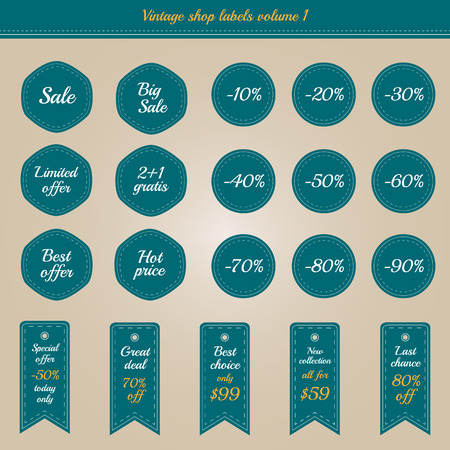 Collection of vintage shop labels - sales and offers Vector