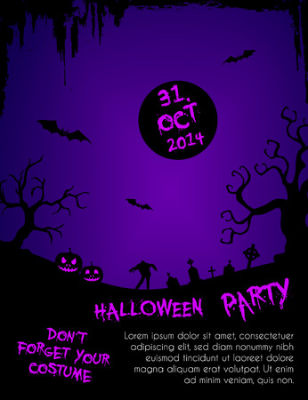 Halloween party flyer template - purple and black Vector