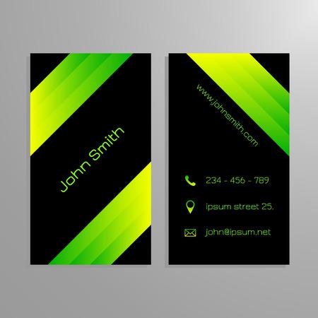sleek: Business card template - black and gren sleek modern design Illustration