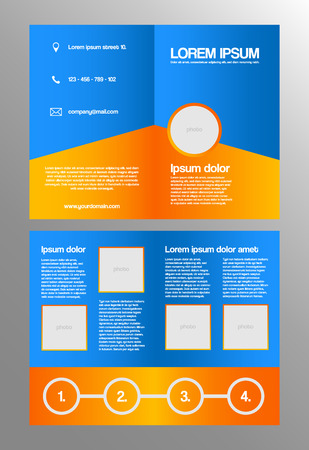 bifold: Bifold business brochure template - orange and blue