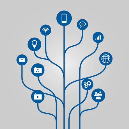 business networking: Abstract icon tree illustration - phone, communication and technology concept