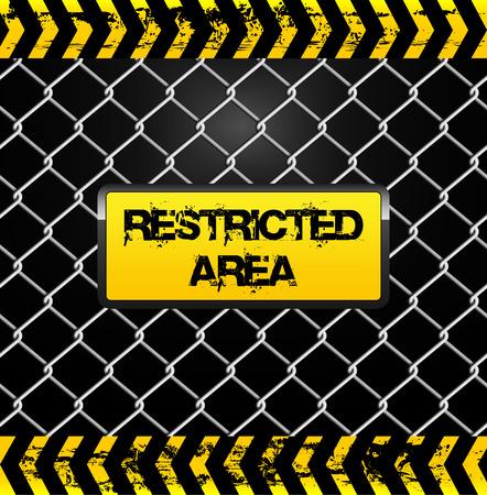 area restringida: Muestra del �rea restricta - cerca de alambre y cintas amarillas ilustraci�n Vectores