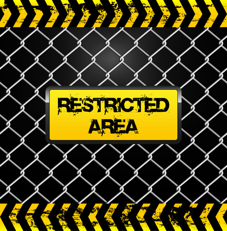 restricted area sign: Restricted area sign - wire fence and yellow tapes illustration Illustration