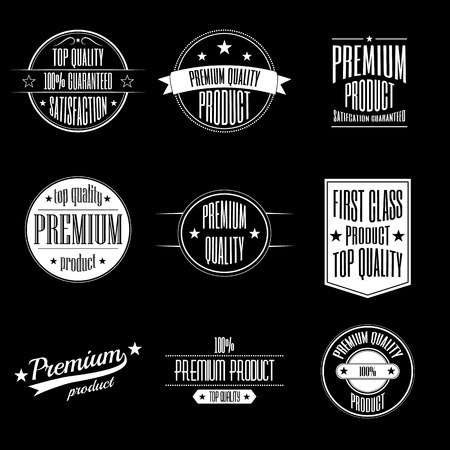quality product: Set of vintage style labels - premium quality product and guaranteed satisfaction signs Illustration