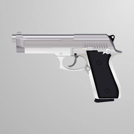 caliber: Realistic illustration of a silver 9 mm caliber gun