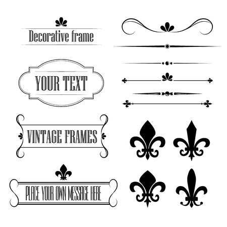 Set of calligraphic flourish design elements, borders and frames - fleur de lis vol 3 Vector